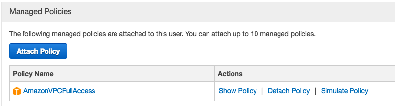 Attach AWS policy